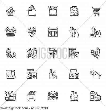 Grocery Store Departments Line Icons Set. Grocery Sections Linear Style Symbols Collection, Outline