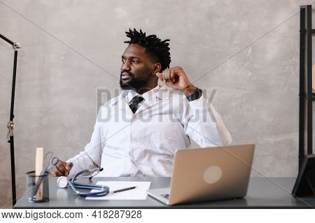 Funny Bored At Work African American Doctor Worker Falling Asleep At Office Desk, Employee Sleeping