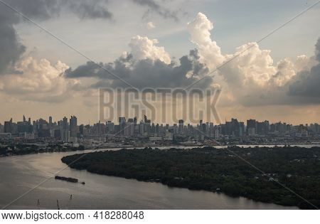 Bangkok, Thailand - Apr 16, 2021 : Beautiful Sky And Cloud View Of Bangkok With Skyscrapers Along Ch