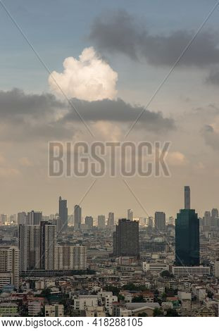 Beautiful Sky And Cloud View Of Bangkok With Skyscrapers In The Business District In The Afternoon.