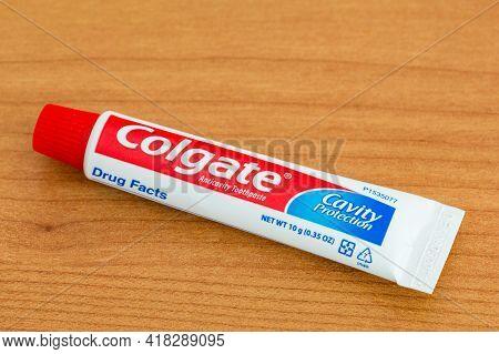 Pruszcz Gdanski, Poland - April 24, 2021: Colgate Cavity Protection Anticavity Toothpaste.