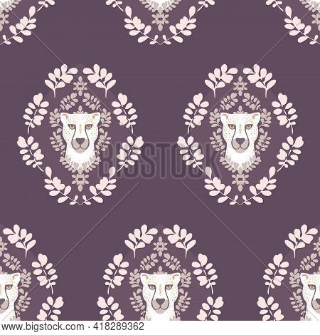 Vector Abstract Symmetrical White Cheetah With Leaves On Plum Purple Design Seamless Pattern Backgro