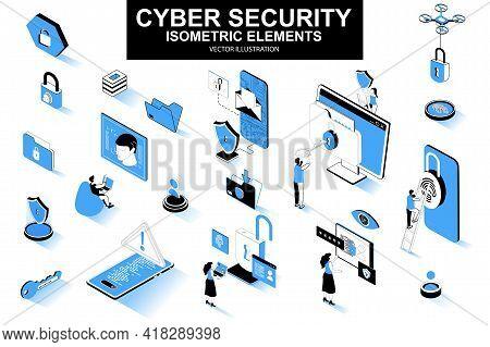 Cyber Security Bundle Of Isometric Elements. Fingerprint Scanner, Padlock, Password, Firewall, Data