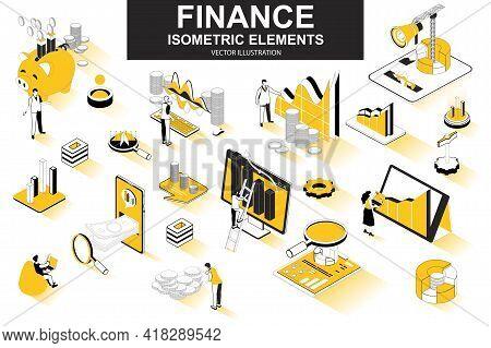 Finance Bundle Of Isometric Elements. Financial Analytics, Piggy Bank, Stock Trading, Market Indexes