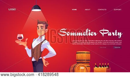 Sommelier Party Website With Man Holding Wineglass. Banner Of Tasting Alcohol Drinks In Winery Bar O
