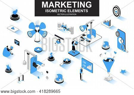 Marketing Strategy Bundle Of Isometric Elements. Marketing Funnel, Lead Generation, Research And Str