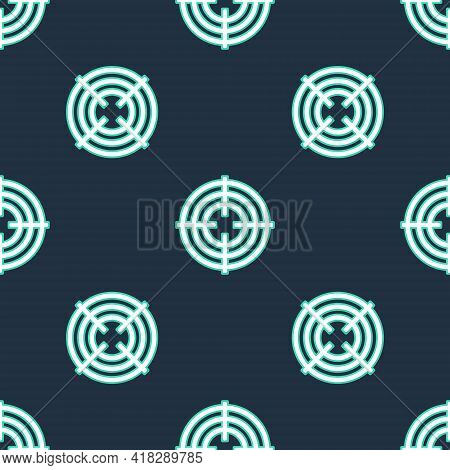 Line Target Sport For Shooting Competition Icon Isolated Seamless Pattern On Black Background. Clean