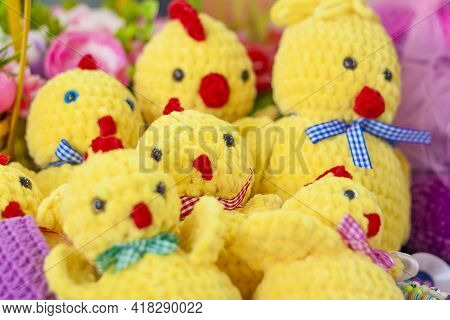 Knitted Toys. Crocheted Easter Yellow Chickens. Handmade Easter Toy, Plush Stuffed Toys,