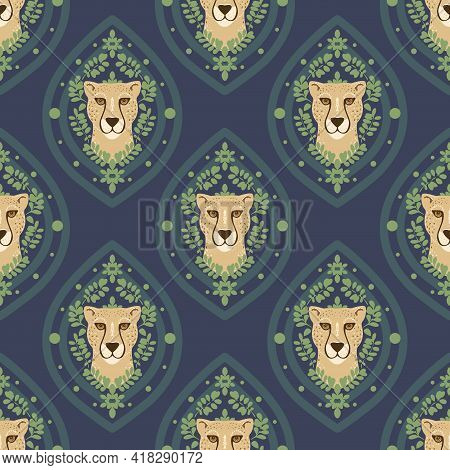 Vector Abstract Ogee Cheetah With Leaves On Navy Blue Seamless Pattern Background. Perfect For Fabri