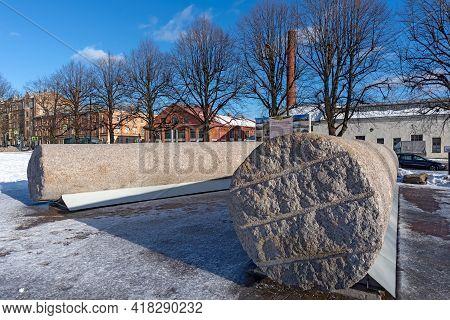 Vyborg, Leningrad Region, Russia - March 4, 2021: The Hermitage-vyborg Exhibition Center. The Column