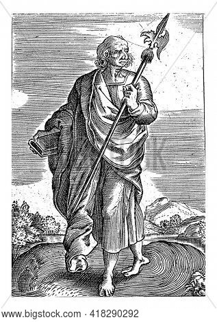 Landscape with the apostle Matthew. He holds a book in one hand, a halberd in the other.