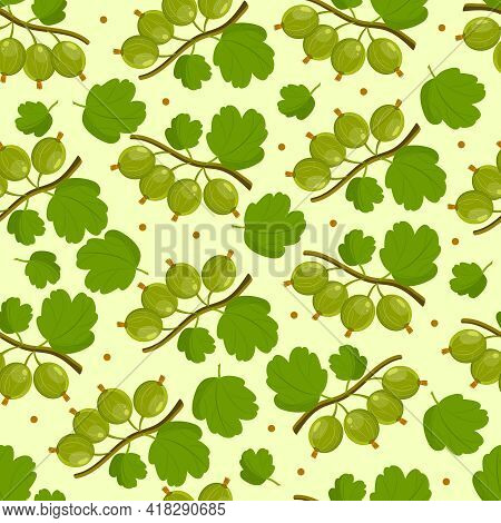 Seamless Vector Pattern With Gooseberry Branches On A Yellow Background.