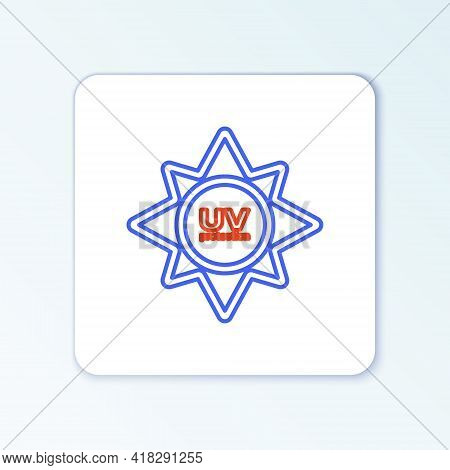 Line Uv Protection Icon Isolated On White Background. Ultra Violet Rays Radiation. Spf Sun Sign. Col