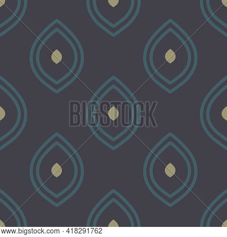 Vector Moody Ogee On Dark Purple Seamless Pattern Background. Perfect For Fabric, Scrapbooking And W