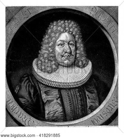 Portrait of Samuel Schultz, minister in Hamburg. In the margin are name, titles and date of birth.
