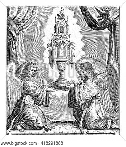 Two angels with a monstrance in which the Blessed Sacrament. Print no. 13 from a series of 16 scenes of The Miracle of Amsterdam, based on the events of March 15, 1345.