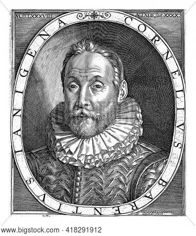 Portrait of Cornelis Jan Barents at the age of 40, in oval with edge lettering. Under the portrait his motto: Aeternitatis ad Scopum.