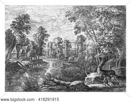 From a series of six. Landscape with a stream and two hunters with a dog.