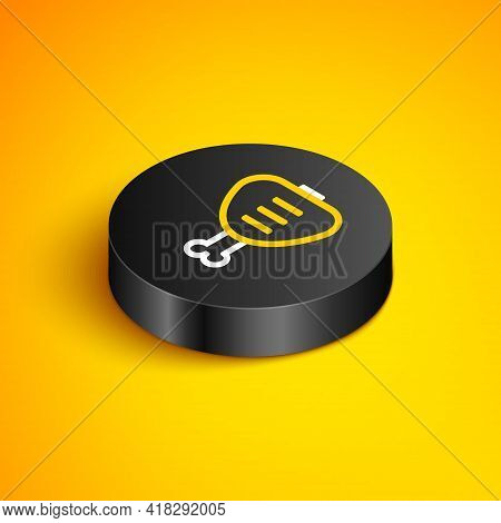 Isometric Line Chicken Leg Icon Isolated On Yellow Background. Chicken Drumstick. Black Circle Butto