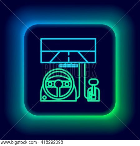 Glowing Neon Line Racing Simulator Cockpit Icon Isolated On Black Background. Gaming Accessory. Gadg