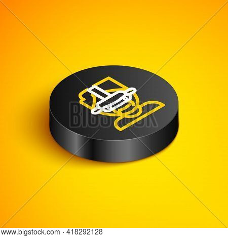 Isometric Line Virtual Reality Glasses Icon Isolated On Yellow Background. Stereoscopic 3d Vr Mask.