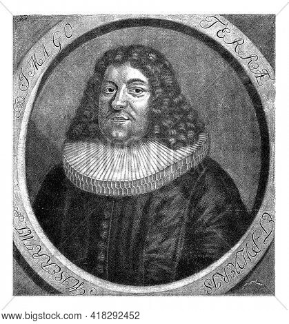 Portrait of Johann Winckler, minister in Hamburg and professor of oriental languages. In the margin are name, titles and dates of birth. His motto in the frame.