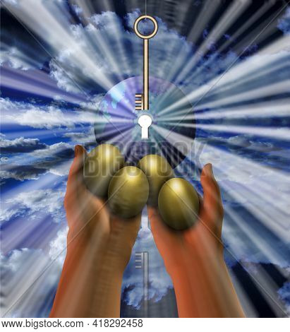 Key to prosperity. Golden eggs and planet Earth with keyhole. 3D rendering.