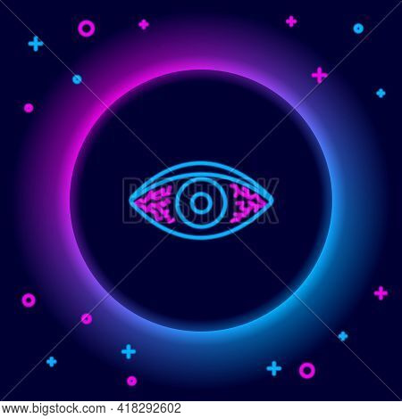 Glowing Neon Line Reddish Eye Due To Viral, Bacterial Or Allergic Conjunctivitis Icon Isolated On Bl