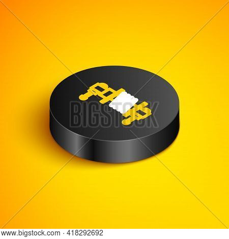 Isometric Line Shock Absorber Icon Isolated On Yellow Background. Black Circle Button. Vector