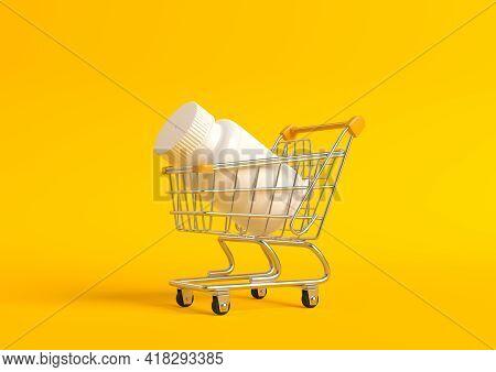 Pharmacy Bottle In Shopping Cart On Yellow Background. Pharmacy Medicine Concept. 3d Render Illustra
