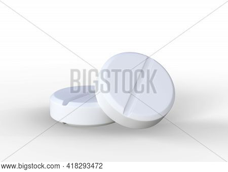 Pair Of White Pills Isolated On White Background. 3d Rendering Illustration
