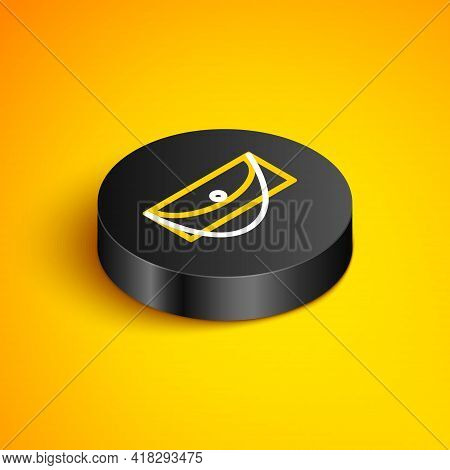 Isometric Line Clutch Bag Icon Isolated On Yellow Background. Women Clutch Purse. Black Circle Butto