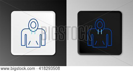 Line Hoodie Icon Isolated On Grey Background. Hooded Sweatshirt. Colorful Outline Concept. Vector