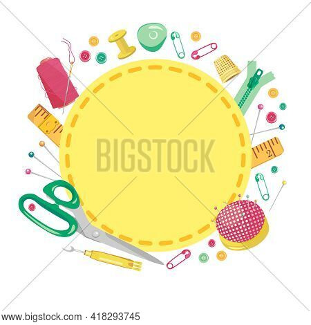 Vector Illustration Of A Frame Made Of Sewing Supplies For Needlework