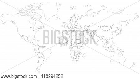 Simplified Schematic Map Of World. Political Blank Map Of Countries. Generalized And Smoothed Border