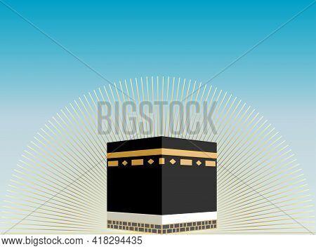 The Holy Kaaba In Mecca With Light Emanating On Sky Background. Saudi Arabia. Pilgrimage Hajj, Ramad