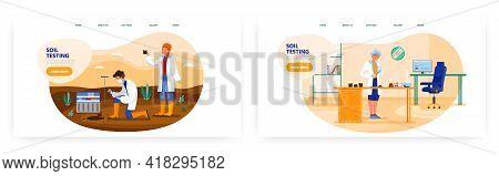 Soil Testing Landing Page Design, Website Banner Vector Template Set. Agricultural Soil Analysis In