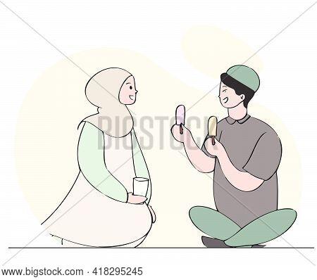 Muslim Couple Break Their Fast With Ice Cream. Hand Drawn Style Illustration Of Ramadan Kareem Conce