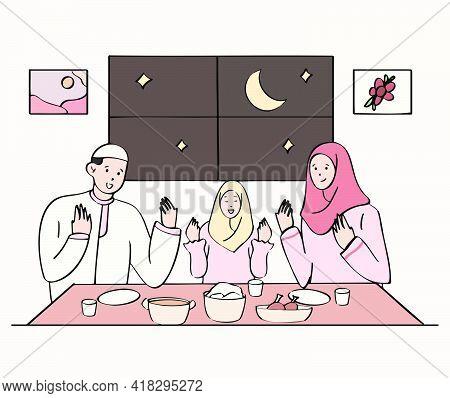 Muslim Family Praying Before Iftar Or Break The Fast. Ramadan Kareem Hand Drawn Style Illustration C