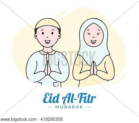 Happy Eid Mubarak Greeting Card With Muslim Boy And Girl Flat Illustration Style. Hand Drawn Style O
