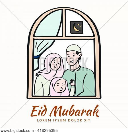 Muslim Family Celebrating Eid Mubarak From Their Home. Happy Eid Mubarak Greeting Concept With Peopl