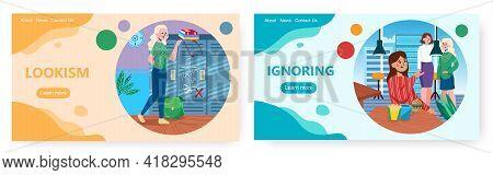 Lookism And Ignoring Landing Page Design, Website Banner Vector Template Set. Appearance Discriminat