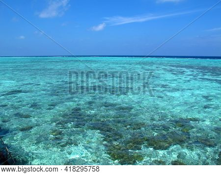 The Beach On Maldives In Indian Ocean