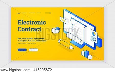 Electronic Contract. Vector Illustration Of Computer Monitor With Electronic Legal Contract For Busi