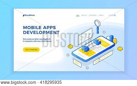 Mobile Apps Development. Isometric Illustration Of Smartphone With Wrench On Screen On Banner Advert