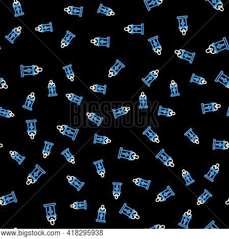 Line Church Pastor Preaching Icon Isolated Seamless Pattern On Black Background. Vector