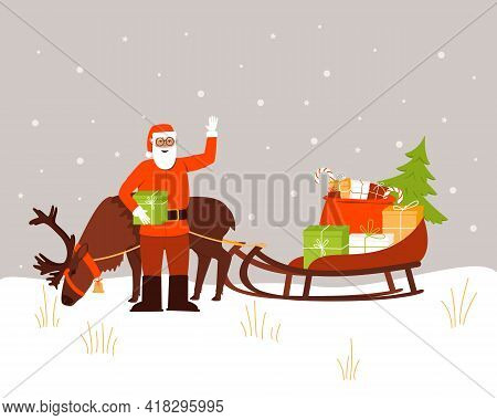 Santa Claus Is Standing Next To A Reindeer And A Sleigh With Gifts. Santa Claus Is Ready To Deliver