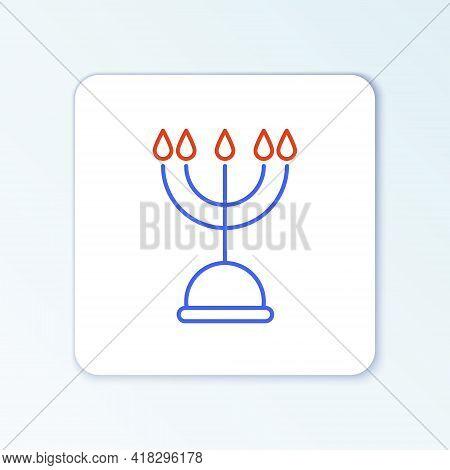 Line Hanukkah Menorah Icon Isolated On White Background. Hanukkah Traditional Symbol. Holiday Religi