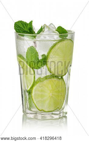 Fresh Mojito cocktail with lime, mint and ice isolated on white background