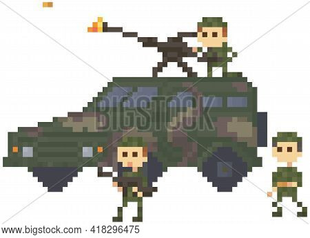 Soldiers In Uniform Near Combat Camouflage Transport For Pixel Game Design. Men Armed With Machine G